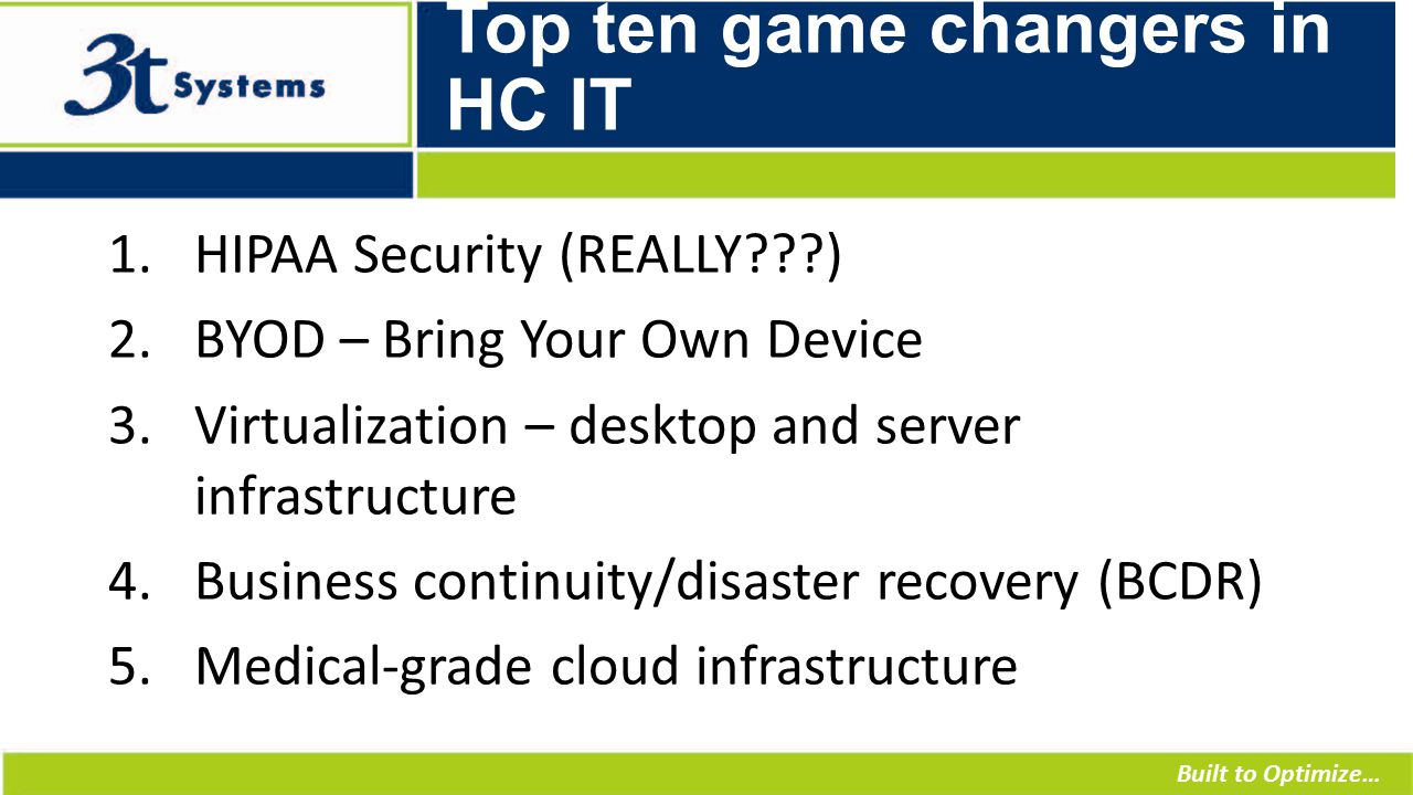 Built to Optimize… Top ten game changers in HC IT 1.HIPAA Security (REALLY ) 2.BYOD – Bring Your Own Device 3.Virtualization – desktop and server infrastructure 4.Business continuity/disaster recovery (BCDR) 5.Medical-grade cloud infrastructure