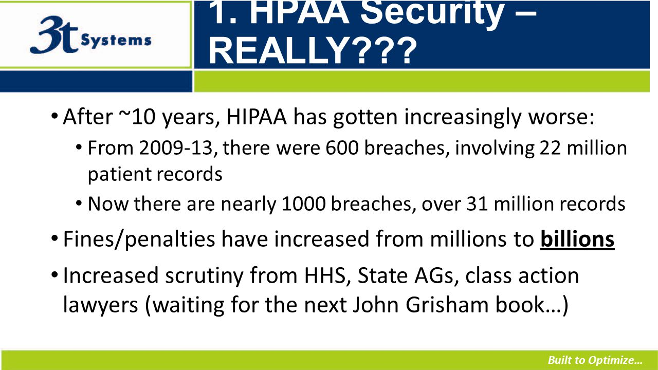 Built to Optimize… 1. HPAA Security – REALLY .
