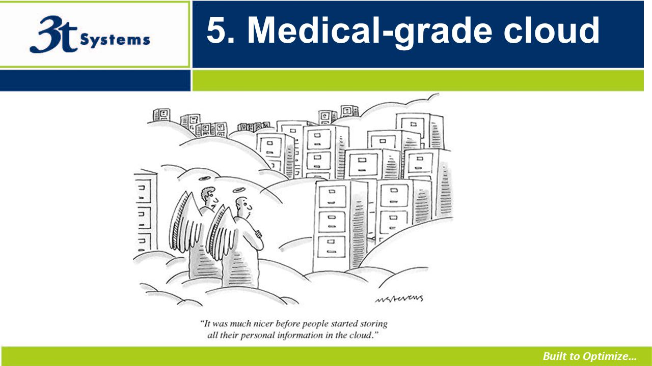 Built to Optimize… 5. Medical-grade cloud