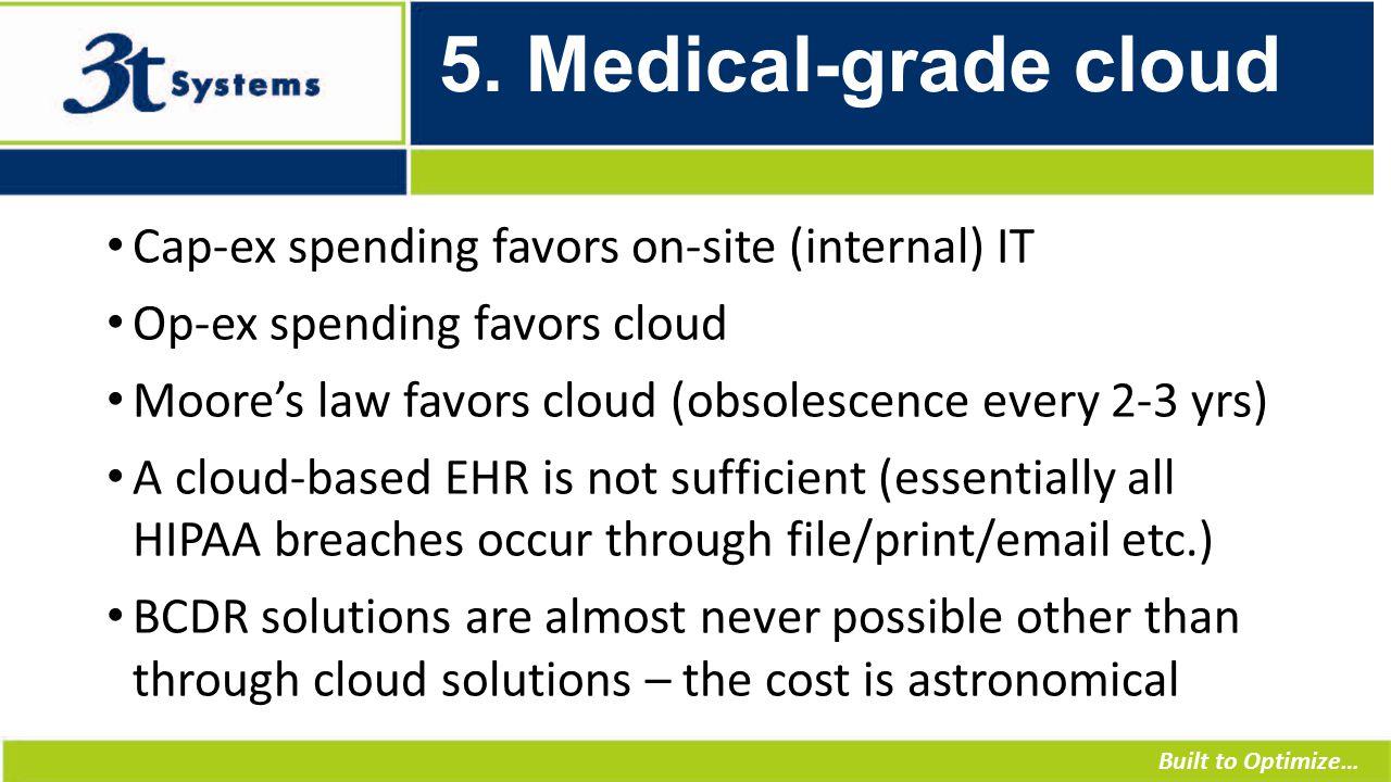 Built to Optimize… 5. Medical-grade cloud Cap-ex spending favors on-site (internal) IT Op-ex spending favors cloud Moore's law favors cloud (obsolesce