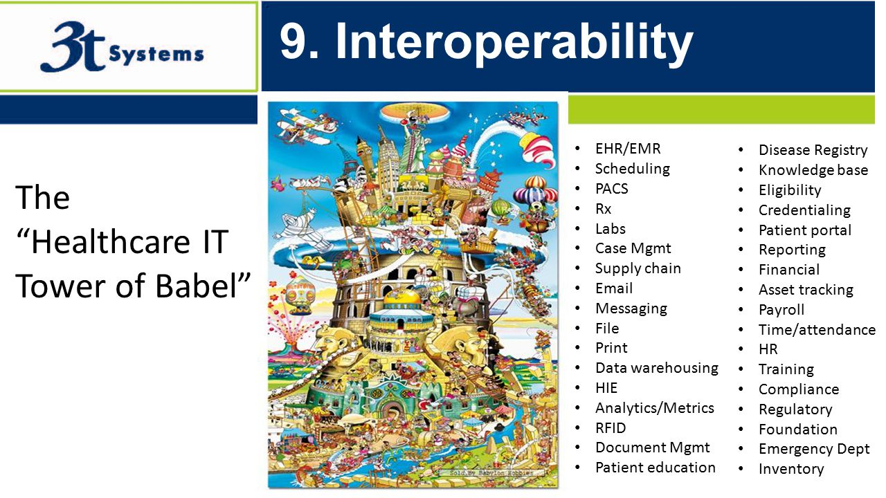 """Built to Optimize… 9. Interoperability The """"Healthcare IT Tower of Babel"""" EHR/EMR Scheduling PACS Rx Labs Case Mgmt Supply chain Email Messaging File"""