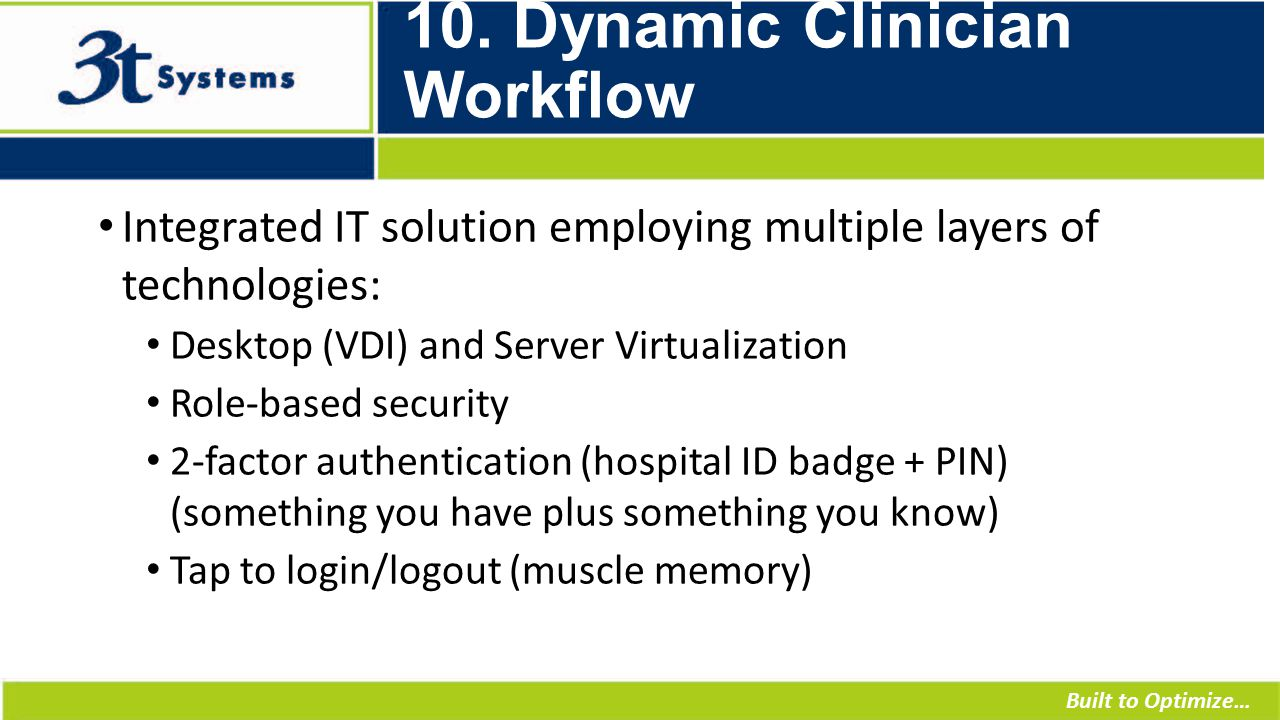 Built to Optimize… 10. Dynamic Clinician Workflow Integrated IT solution employing multiple layers of technologies: Desktop (VDI) and Server Virtualiz