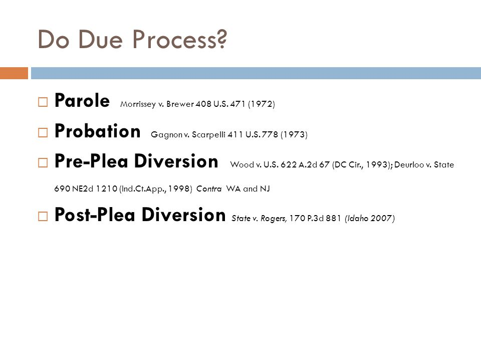 Do Due Process?  Parole Morrissey v. Brewer 408 U.S. 471 (1972)  Probation Gagnon v. Scarpelli 411 U.S. 778 (1973)  Pre-Plea Diversion Wood v. U.S.