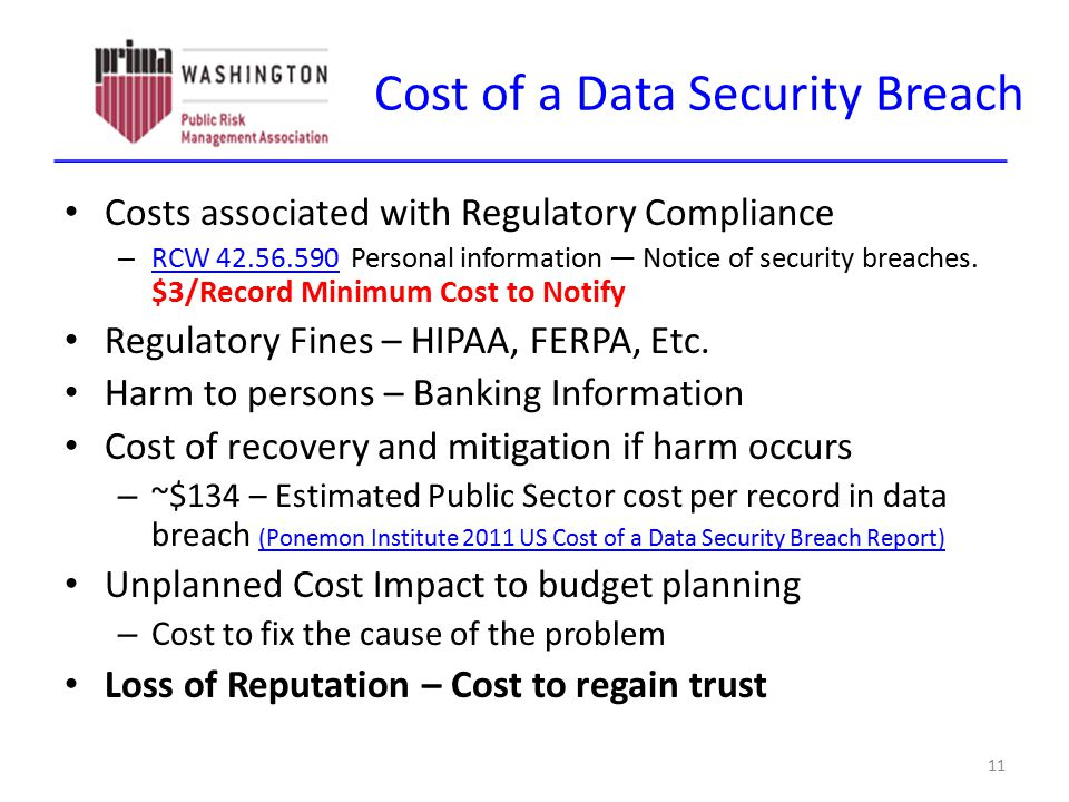 Cost of a Data Security Breach Costs associated with Regulatory Compliance – RCW 42.56.590 Personal information — Notice of security breaches. $3/Reco