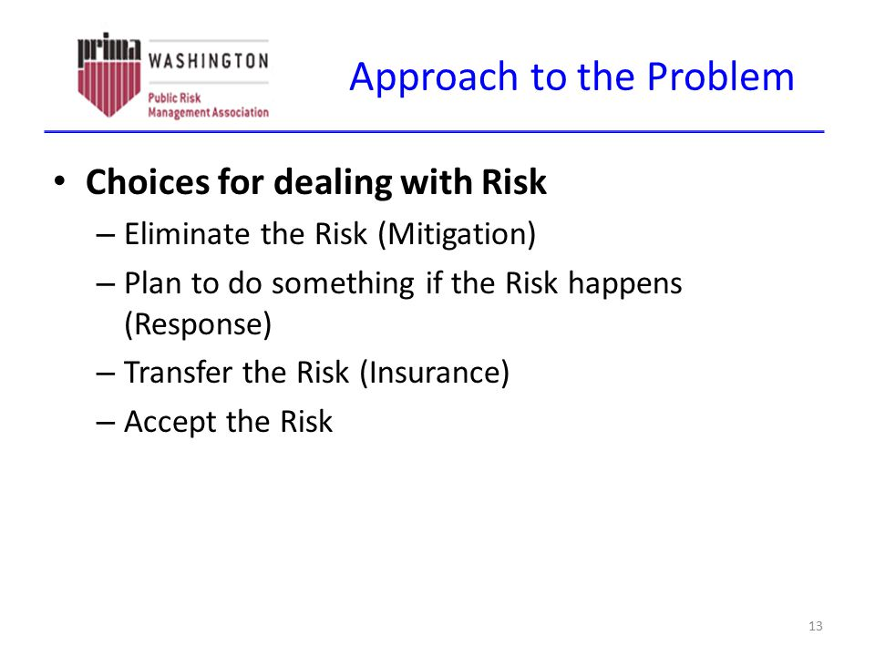 Approach to the Problem Choices for dealing with Risk – Eliminate the Risk (Mitigation) – Plan to do something if the Risk happens (Response) – Transf