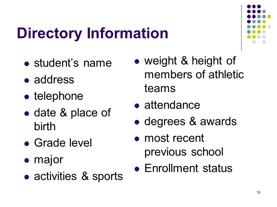 16 Directory Information student's name address telephone date & place of birth Grade level major activities & sports weight & height of members of at