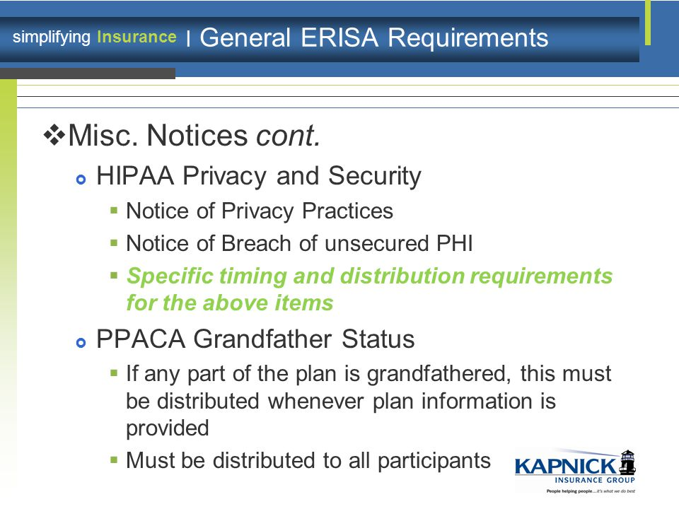 simplifying Insurance | General ERISA Requirements  Misc.