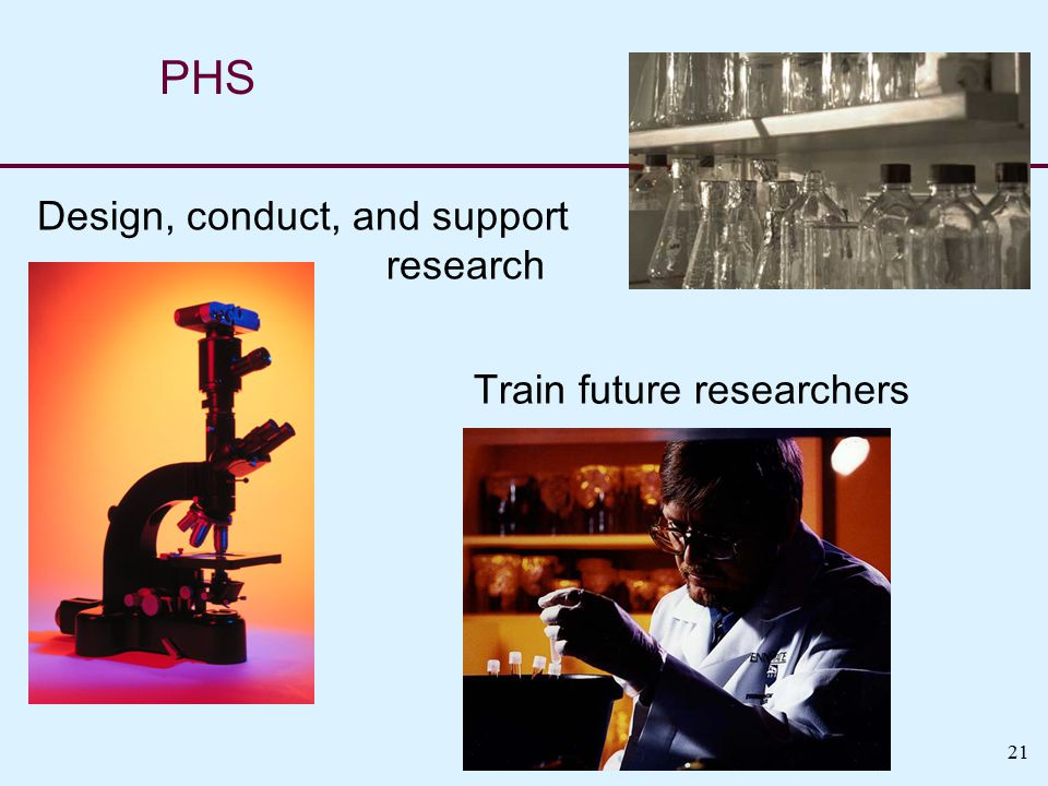 21 Train future researchers PHS Design, conduct, and support research