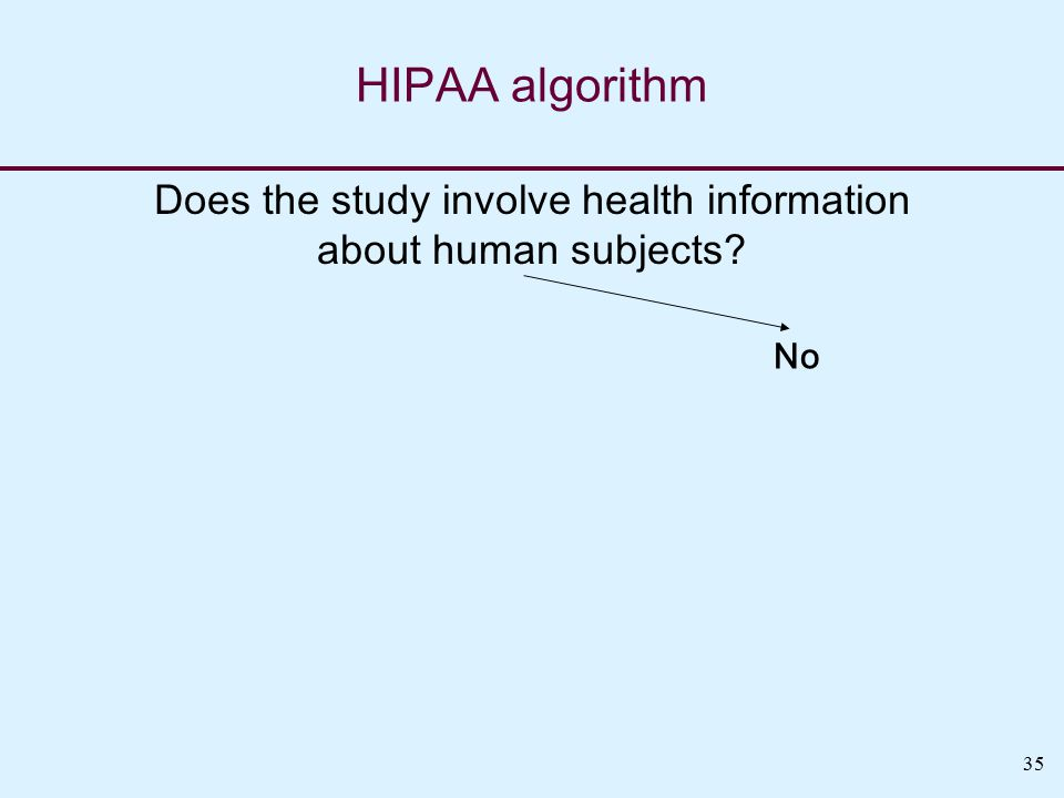 35 HIPAA algorithm Does the study involve health information about human subjects No
