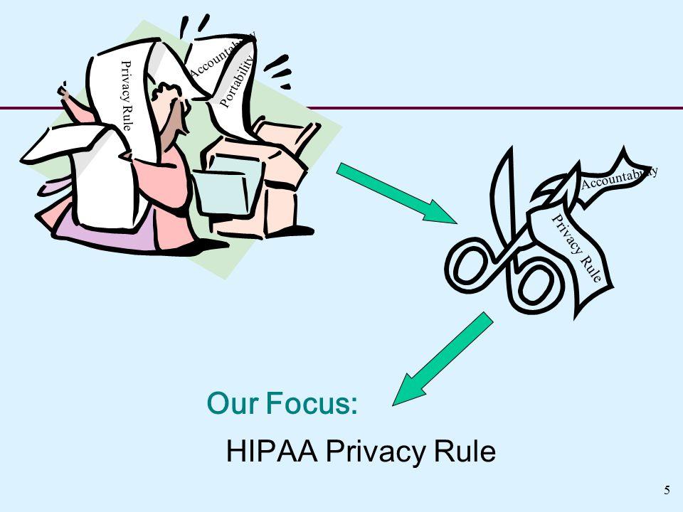 HIPAA Privacy Rule Privacy Rule Accountability Privacy Rule Accountability Portability Our Focus: 5