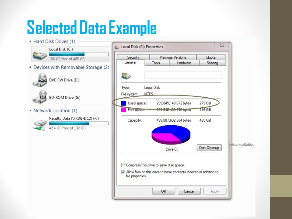 Selected Data Example