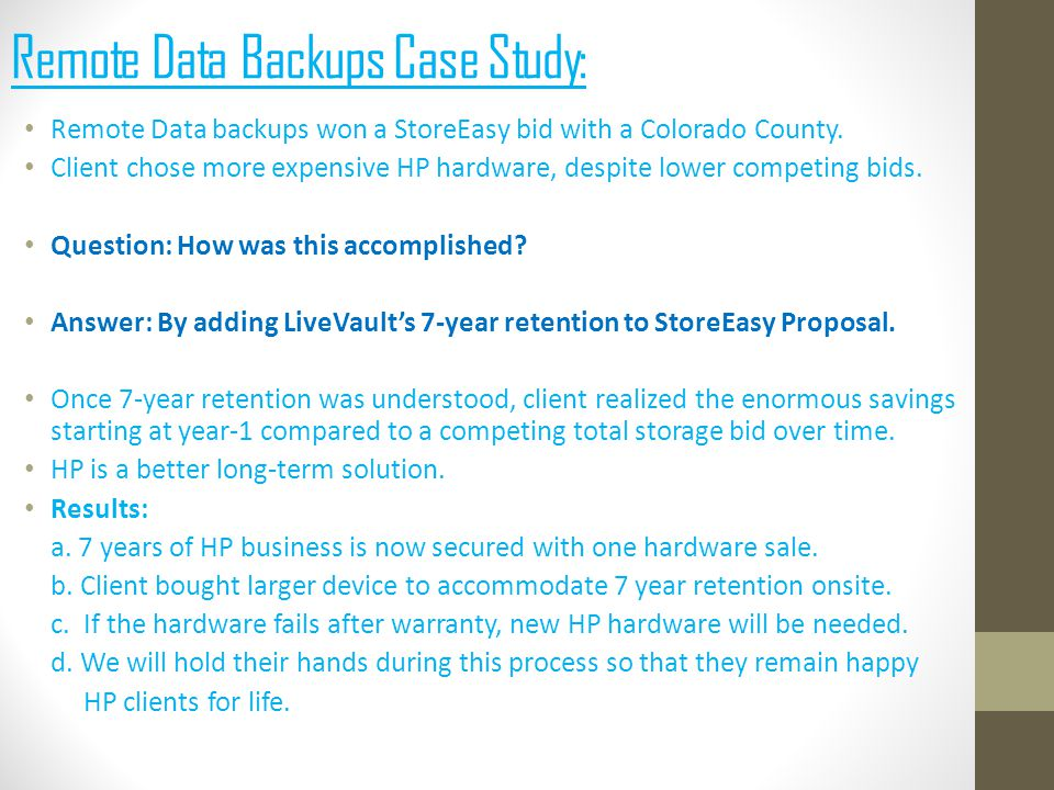 Remote Data backups won a StoreEasy bid with a Colorado County.