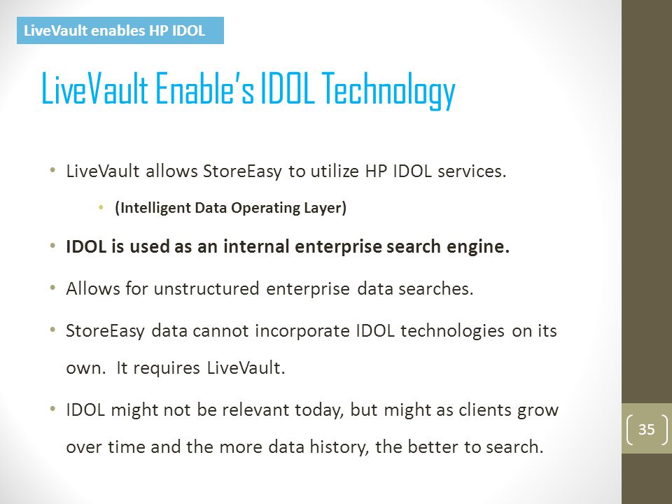 LiveVault Enable's IDOL Technology 35 LiveVault allows StoreEasy to utilize HP IDOL services.