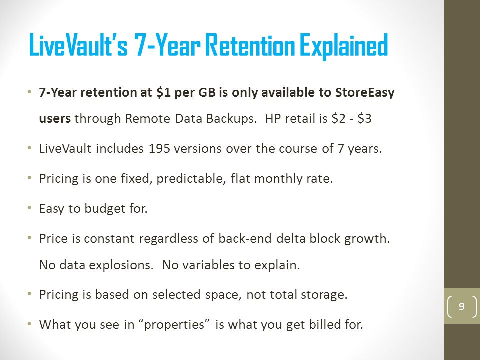 LiveVault's 7-Year Retention Explained 7-Year retention at $1 per GB is only available to StoreEasy users through Remote Data Backups.