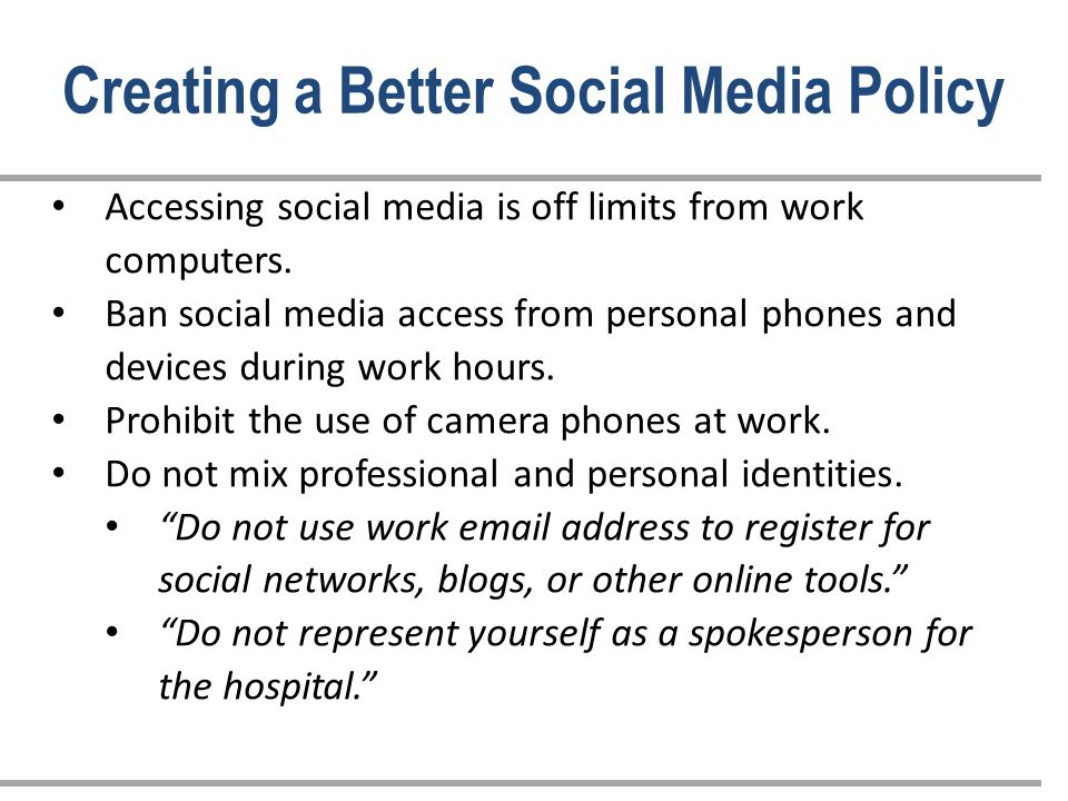 Accessing social media is off limits from work computers.