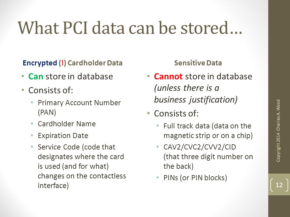 What PCI data can be stored… Encrypted (!) Cardholder Data Can store in database Consists of: Primary Account Number (PAN) Cardholder Name Expiration