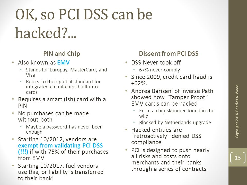 OK, so PCI DSS can be hacked?... PIN and Chip Also known as EMV Stands for Europay, MasterCard, and Visa Refers to their global standard for integrate