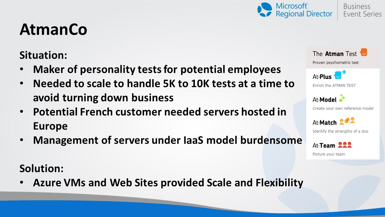 AtmanCo Situation: Maker of personality tests for potential employees Needed to scale to handle 5K to 10K tests at a time to avoid turning down business Potential French customer needed servers hosted in Europe Management of servers under IaaS model burdensome Solution: Azure VMs and Web Sites provided Scale and Flexibility