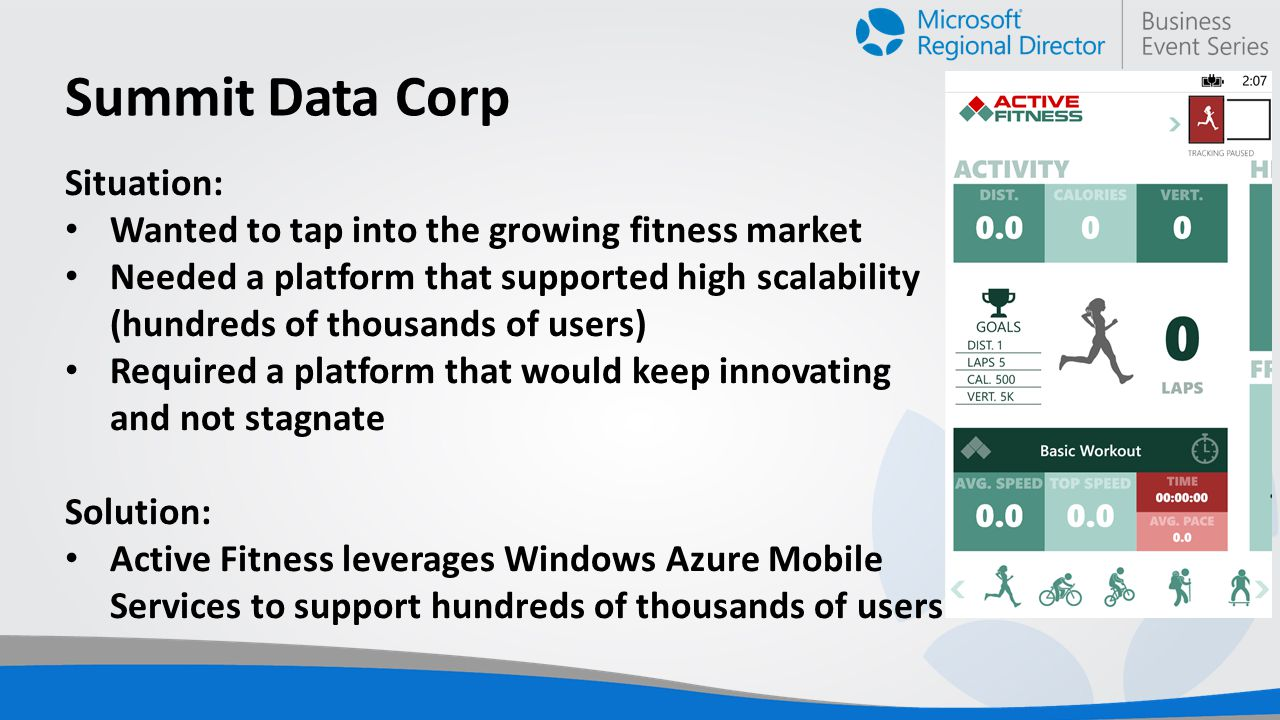 Summit Data Corp Situation: Wanted to tap into the growing fitness market Needed a platform that supported high scalability (hundreds of thousands of users) Required a platform that would keep innovating and not stagnate Solution: Active Fitness leverages Windows Azure Mobile Services to support hundreds of thousands of users