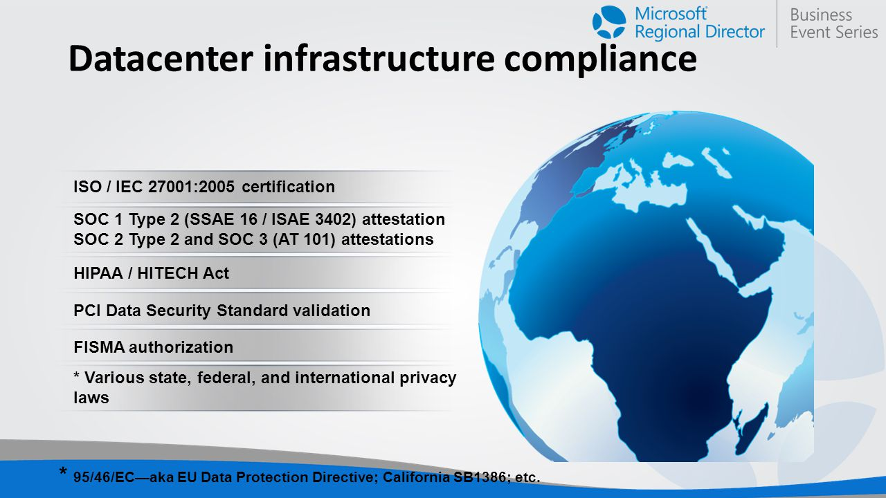Datacenter infrastructure compliance ISO / IEC 27001:2005 certification SOC 1 Type 2 (SSAE 16 / ISAE 3402) attestation SOC 2 Type 2 and SOC 3 (AT 101) attestations HIPAA / HITECH Act PCI Data Security Standard validation FISMA authorization * Various state, federal, and international privacy laws * 95/46/EC—aka EU Data Protection Directive; California SB1386; etc.
