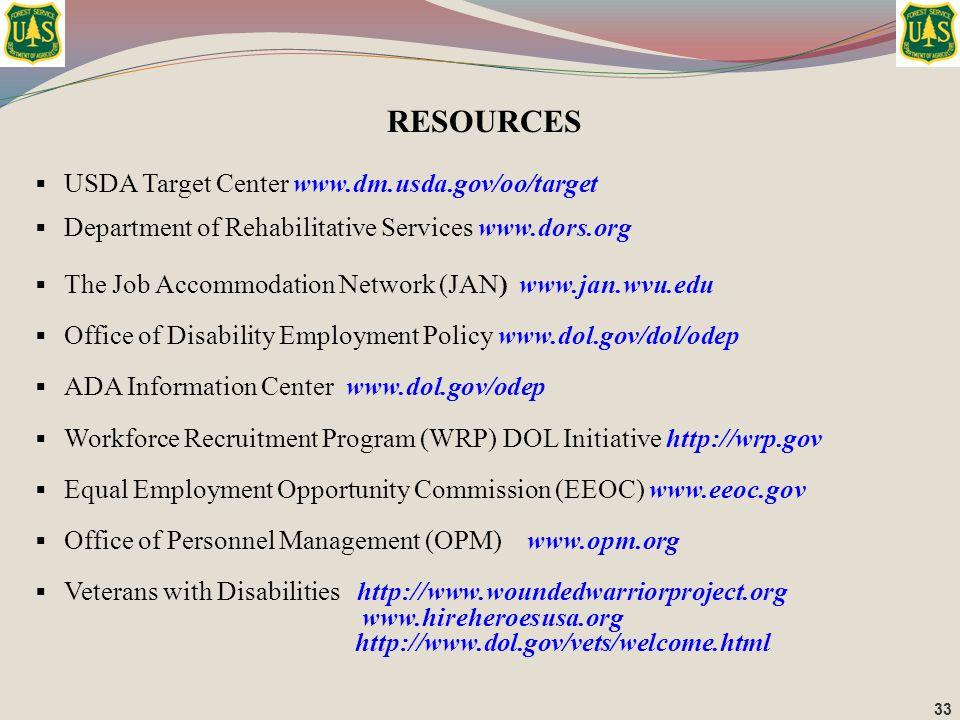  USDA Target Center www.dm.usda.gov/oo/target  Department of Rehabilitative Services www.dors.org  The Job Accommodation Network (JAN) www.jan.wvu.