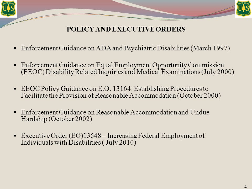  Enforcement Guidance on ADA and Psychiatric Disabilities (March 1997)  Enforcement Guidance on Equal Employment Opportunity Commission (EEOC) Disab
