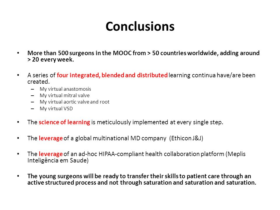 Conclusions More than 500 surgeons in the MOOC from > 50 countries worldwide, adding around > 20 every week.