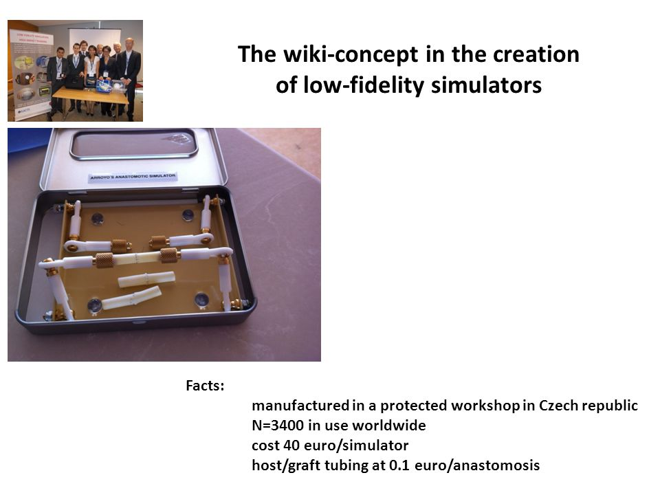 The wiki-concept in the creation of low-fidelity simulators Facts: manufactured in a protected workshop in Czech republic N=3400 in use worldwide cost 40 euro/simulator host/graft tubing at 0.1 euro/anastomosis
