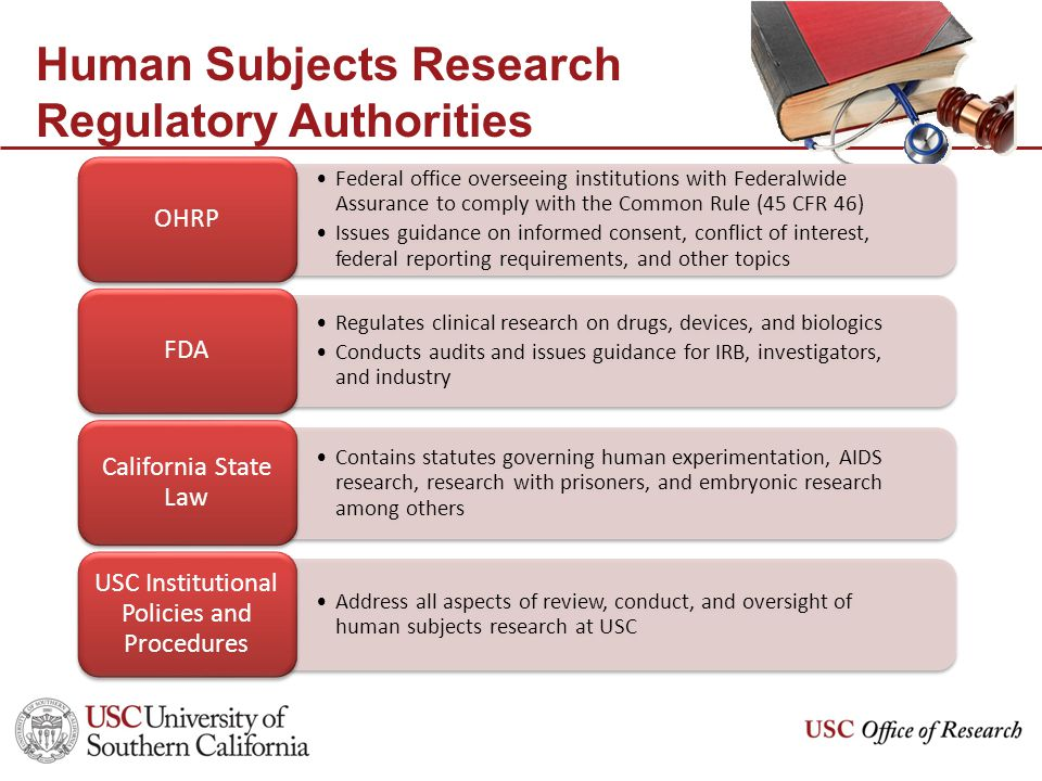 Human Subjects Research Regulatory Authorities Federal office overseeing institutions with Federalwide Assurance to comply with the Common Rule (45 CFR 46) Issues guidance on informed consent, conflict of interest, federal reporting requirements, and other topics OHRP Regulates clinical research on drugs, devices, and biologics Conducts audits and issues guidance for IRB, investigators, and industry FDA Contains statutes governing human experimentation, AIDS research, research with prisoners, and embryonic research among others California State Law Address all aspects of review, conduct, and oversight of human subjects research at USC USC Institutional Policies and Procedures
