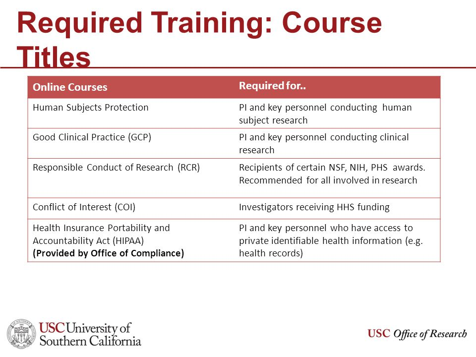 Required Training: Course Titles Online Courses Required for..
