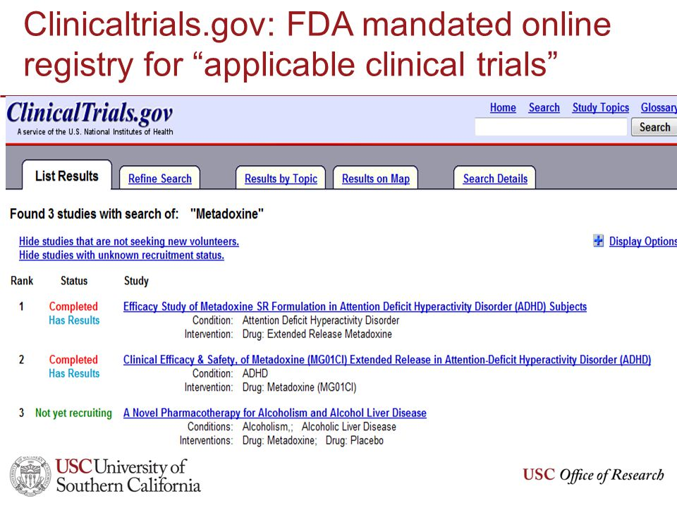 Clinicaltrials.gov: FDA mandated online registry for applicable clinical trials