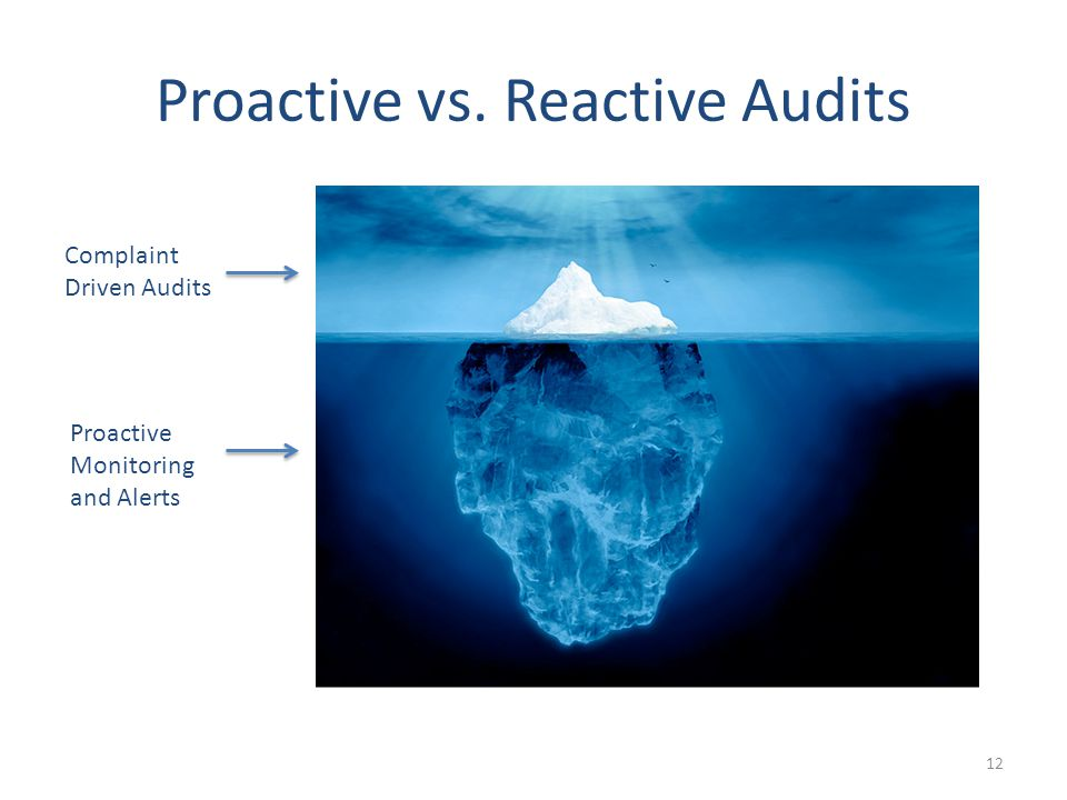 Proactive vs. Reactive Audits 12 Complaint Driven Audits Proactive Monitoring and Alerts