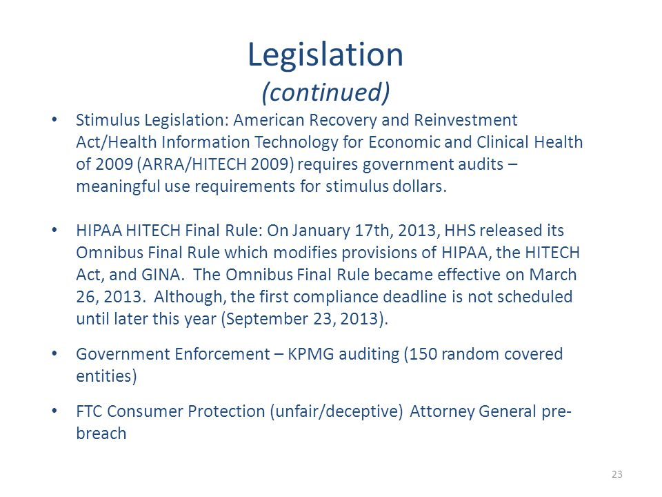 Stimulus Legislation: American Recovery and Reinvestment Act/Health Information Technology for Economic and Clinical Health of 2009 (ARRA/HITECH 2009)
