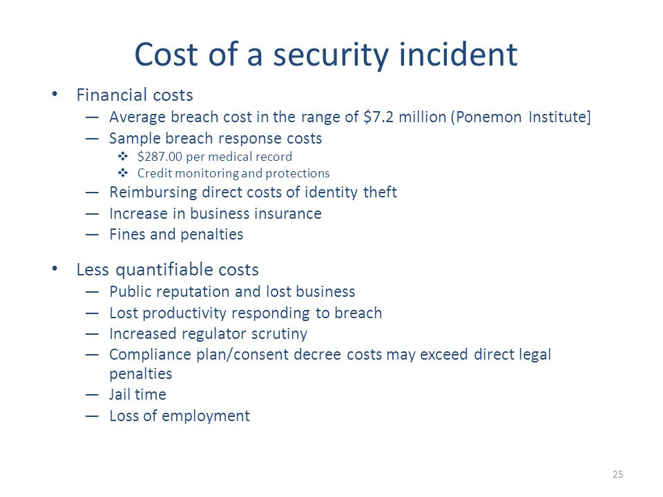Financial costs —Average breach cost in the range of $7.2 million (Ponemon Institute] —Sample breach response costs  $287.00 per medical record  Credit monitoring and protections —Reimbursing direct costs of identity theft —Increase in business insurance —Fines and penalties Less quantifiable costs —Public reputation and lost business —Lost productivity responding to breach —Increased regulator scrutiny —Compliance plan/consent decree costs may exceed direct legal penalties —Jail time —Loss of employment 25 Cost of a security incident