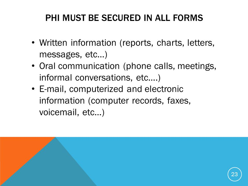 PHI MUST BE SECURED IN ALL FORMS Written information (reports, charts, letters, messages, etc…) Oral communication (phone calls, meetings, informal conversations, etc….) E-mail, computerized and electronic information (computer records, faxes, voicemail, etc…) 23