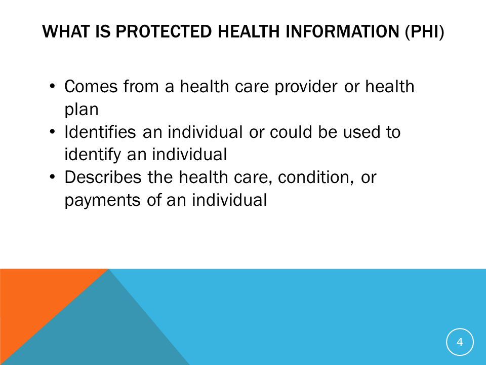 WHAT IS PROTECTED HEALTH INFORMATION (PHI) Comes from a health care provider or health plan Identifies an individual or could be used to identify an individual Describes the health care, condition, or payments of an individual 4