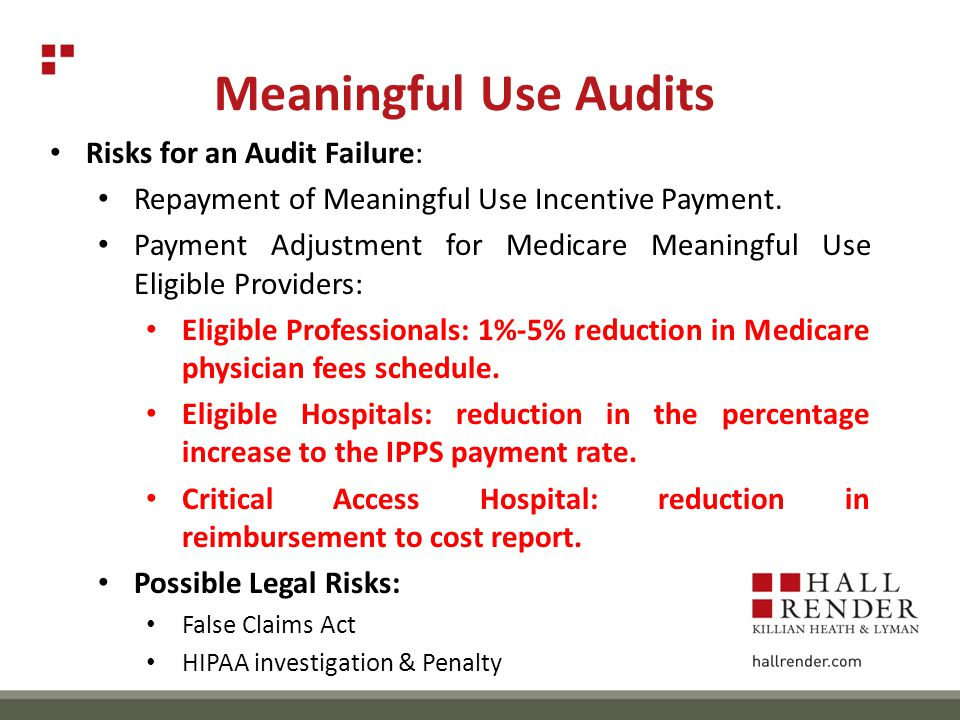 Meaningful Use Audits Risks for an Audit Failure: Repayment of Meaningful Use Incentive Payment.