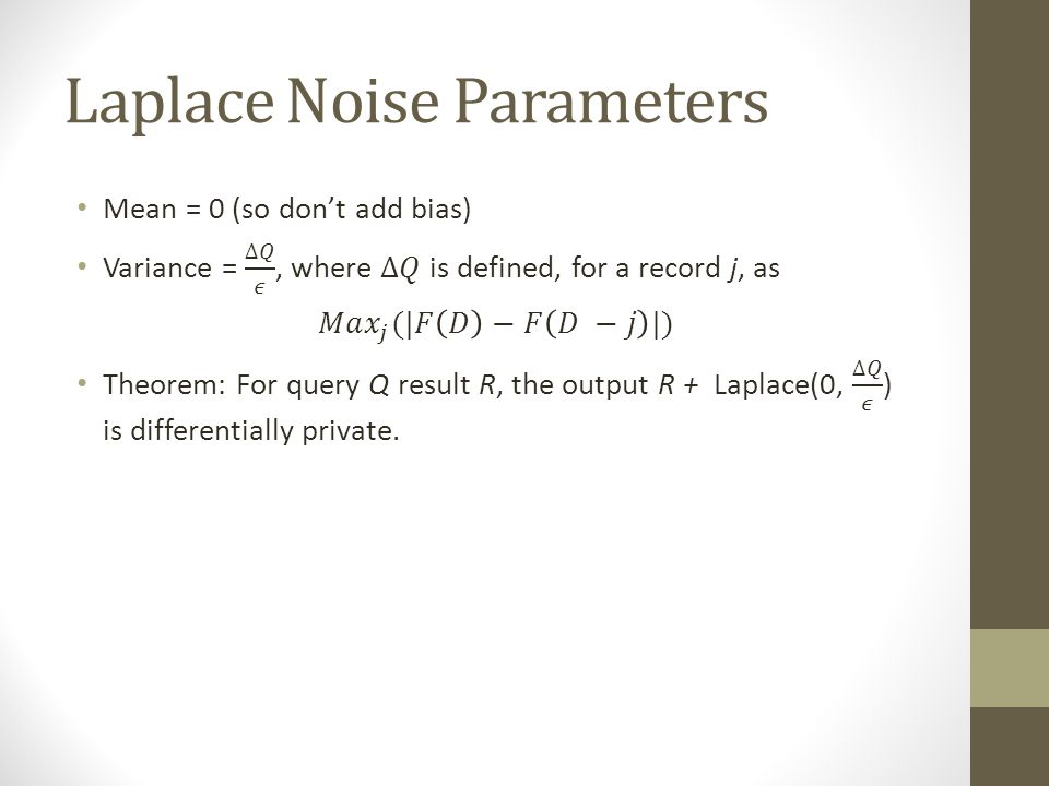 Laplace Noise Parameters