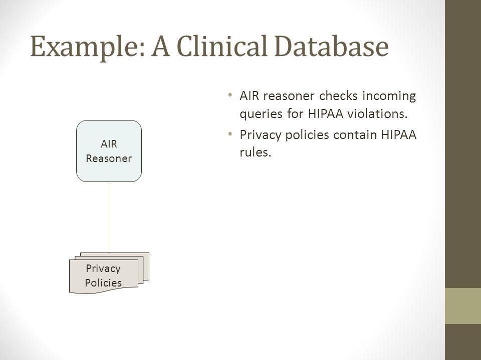 Example: A Clinical Database AIR reasoner checks incoming queries for HIPAA violations. Privacy policies contain HIPAA rules. Privacy Policies AIR Rea