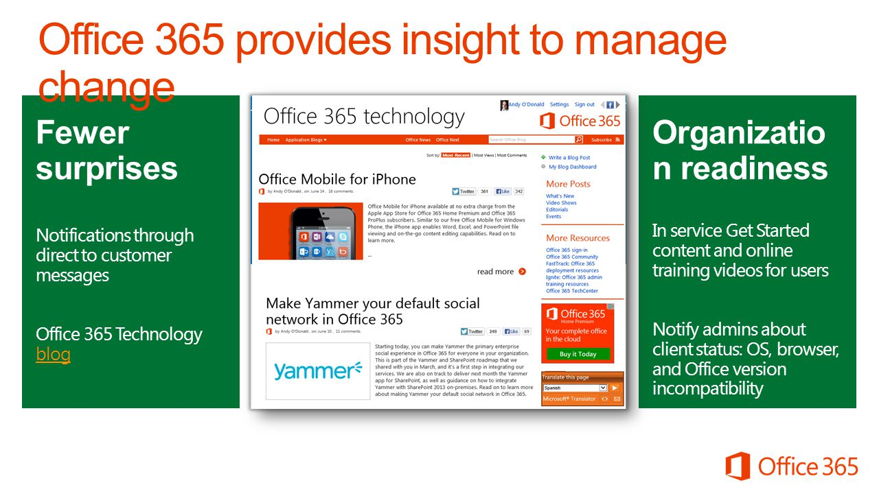 Fewer surprises Notifications through direct to customer messages Office 365 Service Updates Wiki Fewer surprises Notifications through direct to customer messages Office 365 Technology blog blog Organizatio n readiness In service Get Started content and online training videos for users Notify admins about client status: OS, browser, and Office version incompatibility