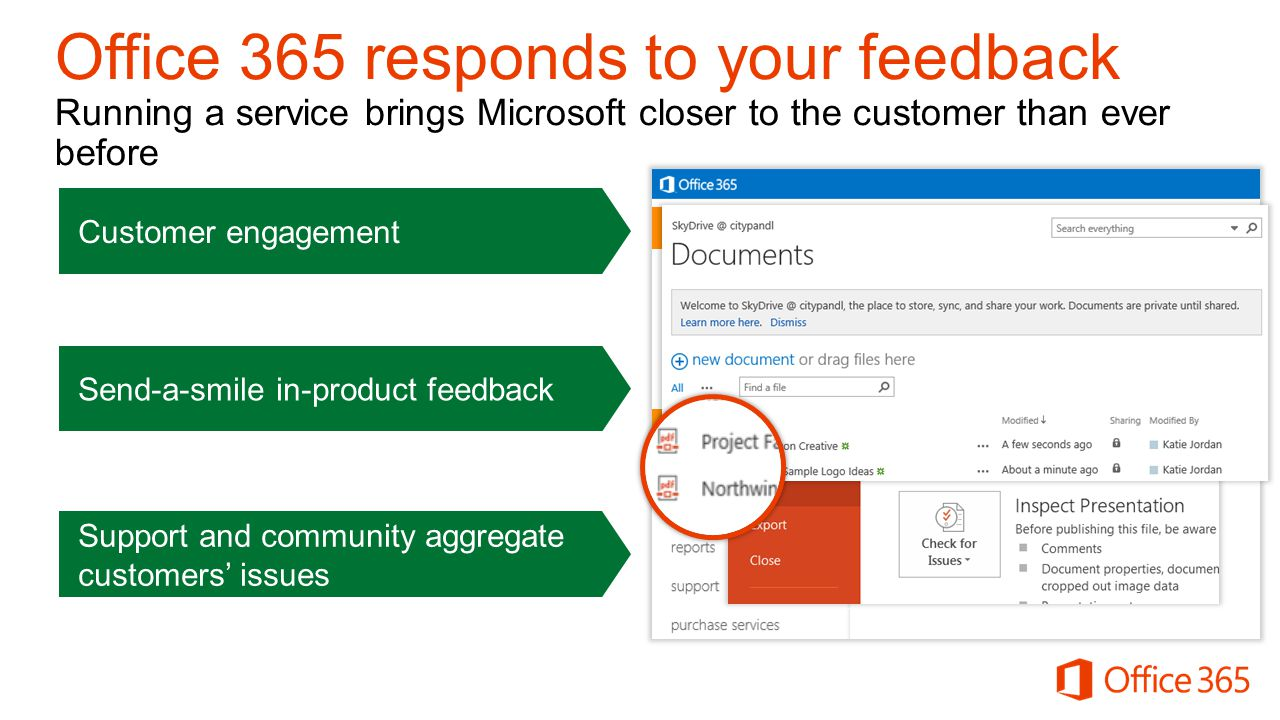 Customer engagement Send-a-smile in-product feedback Support and community aggregate customers' issues Old New