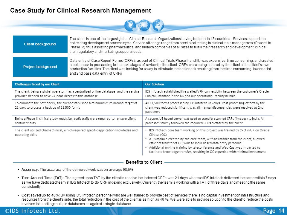 Case Study for Clinical Research Management The client is one of the largest global Clinical Research Organizations having footprint in 18 countries.