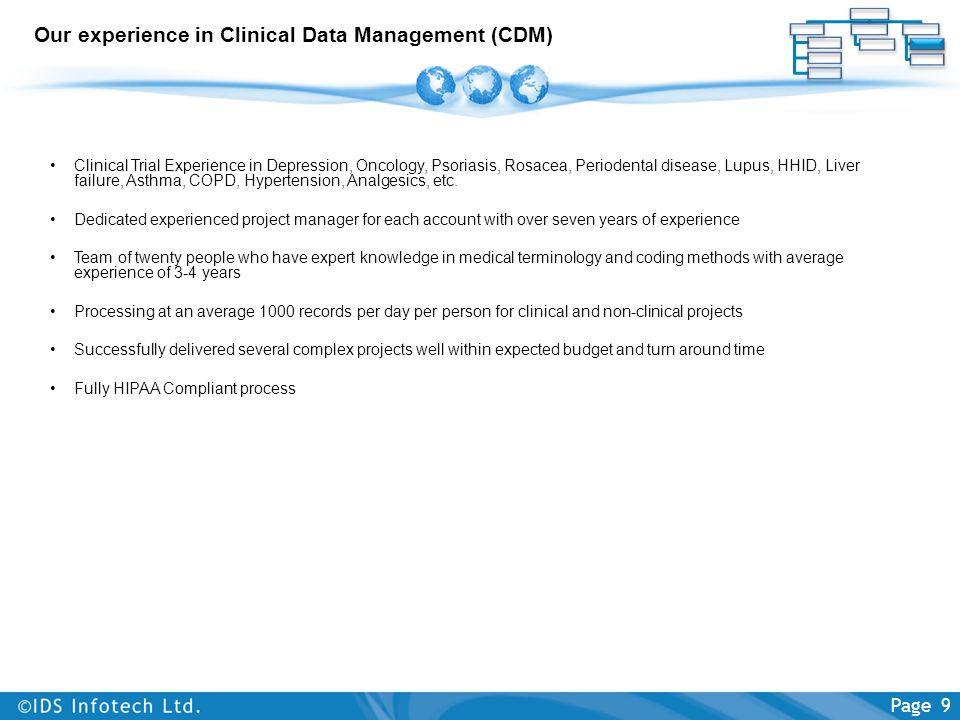 Our experience in Clinical Data Management (CDM) Clinical Trial Experience in Depression, Oncology, Psoriasis, Rosacea, Periodental disease, Lupus, HH