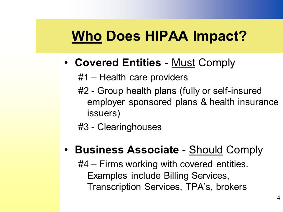 Covered Entities - Must Comply #1 – Health care providers #2 - Group health plans (fully or self-insured employer sponsored plans & health insurance issuers) #3 - Clearinghouses Business Associate - Should Comply #4 – Firms working with covered entities.