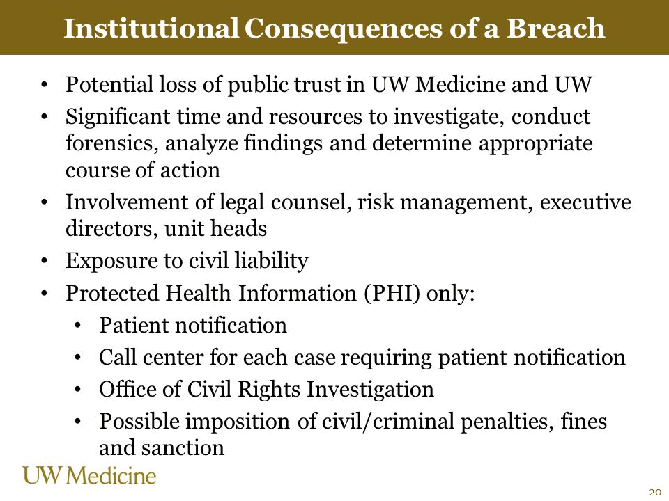 Institutional Consequences of a Breach Potential loss of public trust in UW Medicine and UW Significant time and resources to investigate, conduct for