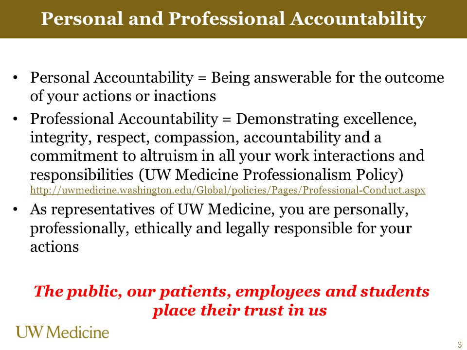 Personal and Professional Accountability Personal Accountability = Being answerable for the outcome of your actions or inactions Professional Accounta