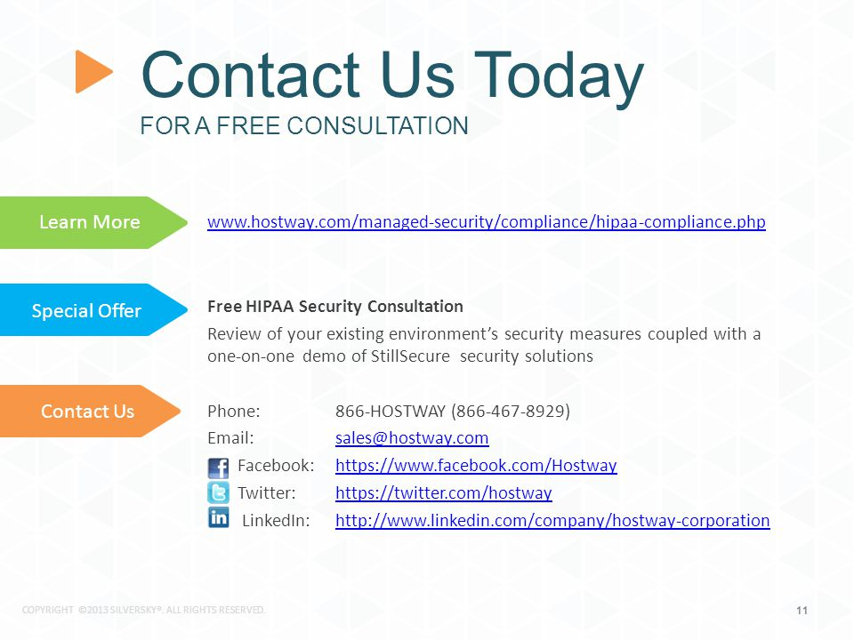 11 www.hostway.com/managed-security/compliance/hipaa-compliance.php Free HIPAA Security Consultation Review of your existing environment's security measures coupled with a one-on-one demo of StillSecure security solutions Phone: 866-HOSTWAY (866-467-8929) Email: sales@hostway.comsales@hostway.com Facebook: https://www.facebook.com/Hostwayhttps://www.facebook.com/Hostway Twitter: https://twitter.com/hostwayhttps://twitter.com/hostway LinkedIn: http://www.linkedin.com/company/hostway-corporationhttp://www.linkedin.com/company/hostway-corporation.