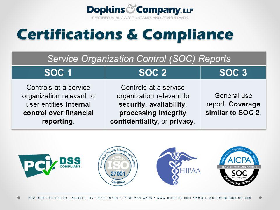 200 International Dr., Buffalo, NY 14221-5794 (716) 634-8800 www.dopkins.com Email: wprohn@dopkins.com Certifications & Compliance
