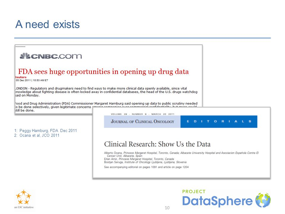 A need exists 1: Peggy Hamburg, FDA Dec 2011 2: Ocana et al, JCO 2011 10