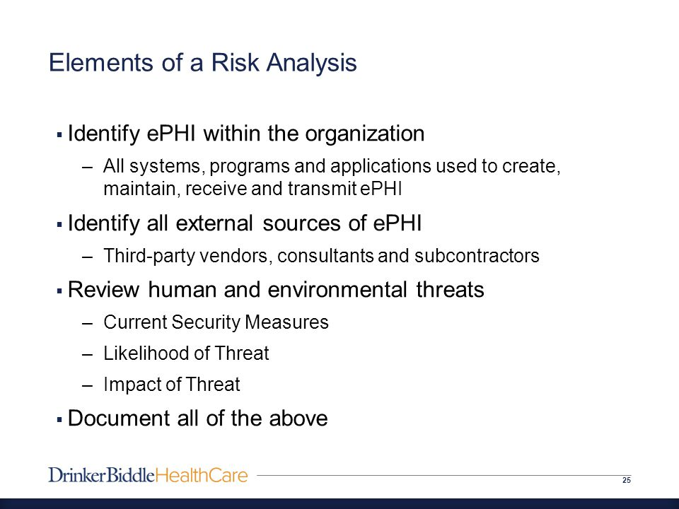 Elements of a Risk Analysis 25  Identify ePHI within the organization –All systems, programs and applications used to create, maintain, receive and transmit ePHI  Identify all external sources of ePHI –Third-party vendors, consultants and subcontractors  Review human and environmental threats –Current Security Measures –Likelihood of Threat –Impact of Threat  Document all of the above